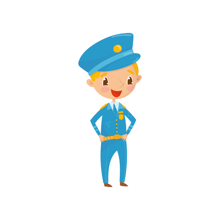 Cheerful teen boy dressed as policeman. Kid wants to be worker of police department in the future. Profession of dream. Career day in school. Cartoon child character. Isolated flat vector illustration