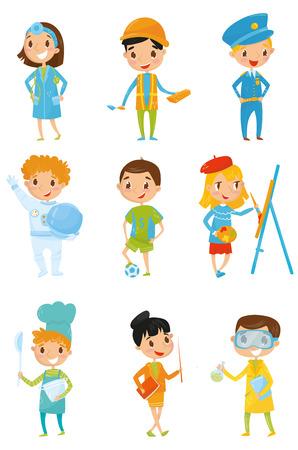 Set of kids in various costumes.