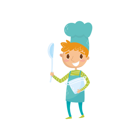 Teen boy in apron and chef hat, holding ladle and saucepan. Kid dream of becoming famous cooker and open own restaurant. Role play. Career day in school. Flat vector illustration isolated on white.