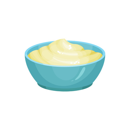 Blue ceramic dip bowl filled with creamy cheese sauce. Delicious cooking ingredient. Traditional garnish for nachos. Culinary theme. Colorful flat vector design Ilustração