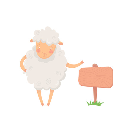 Cartoon sheep character standing near wooden signboard. Funny domestic animal with fluffy wool. Graphic design for poster, banner or postcard. Flat vector illustration isolated on white background.
