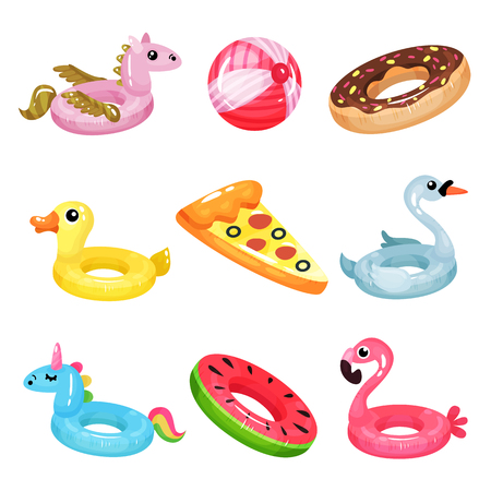 Set of inflatable swimming accessories image illustration