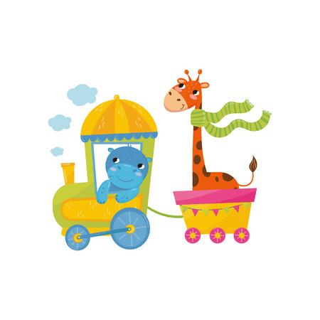 Cartoon animals on train image illustration Illustration