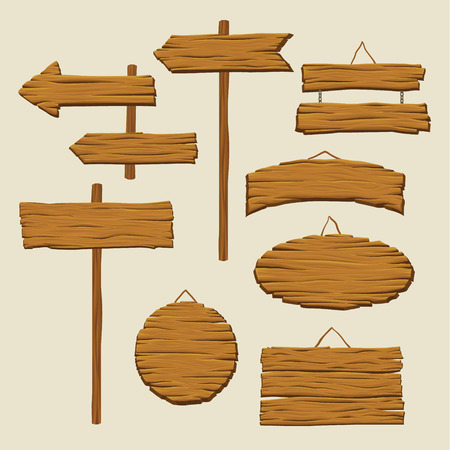 Set of wooden signboards and direction arrows. Illustration