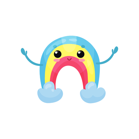 Happy rainbow character with smiling face and hands up. Colorful weather emoji. Cartoon flat vector element for children book, mobile game or print