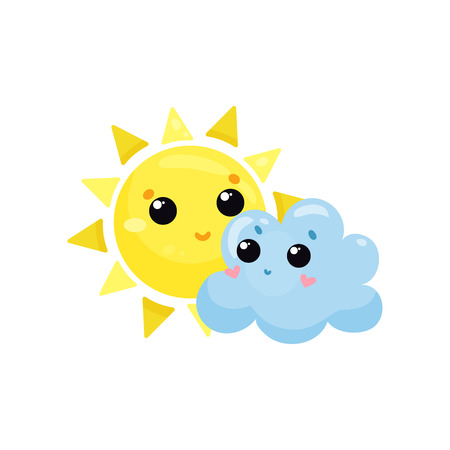 Cartoon yellow sun and blue cloud image illustration Vectores