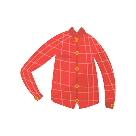 Red checkered boy shirt, boys wear vector Illustration on a white background