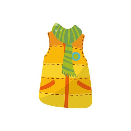 Orange warm vest with green scarf, boys wear vector Illustration isolated on a white background.