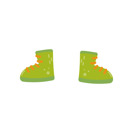 Green boots, shoes for boys vector Illustration isolated on a white background.