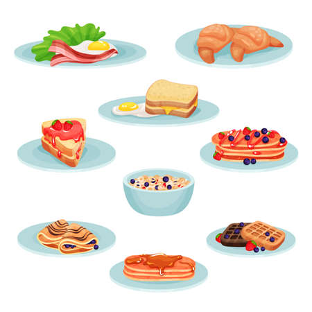 Breakfast menu food set, ?acon, fried eggs, croissant, sandwich, pancakes, muesli, wafers vector Illustration isolated on a white background. Иллюстрация