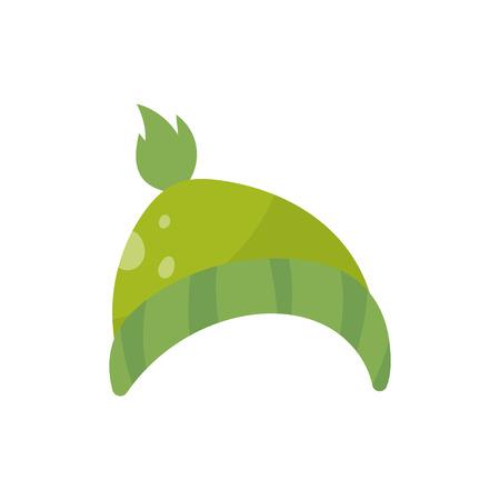 Grüne Strickmütze, Jungen tragen die Vektor Illustration, die auf einem weißen Hintergrund lokalisiert wird.