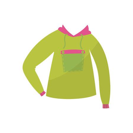 Green hoodie, boys wear illustration on a white background Archivio Fotografico - 98081138