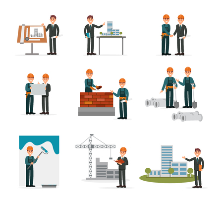 Ser budowlany, inżynieria pracowników przemysłowych, konstruktorzy pracujący z narzędziami budowlanymi i sprzętem wektorowe ilustracje na białym tle na białym tle.