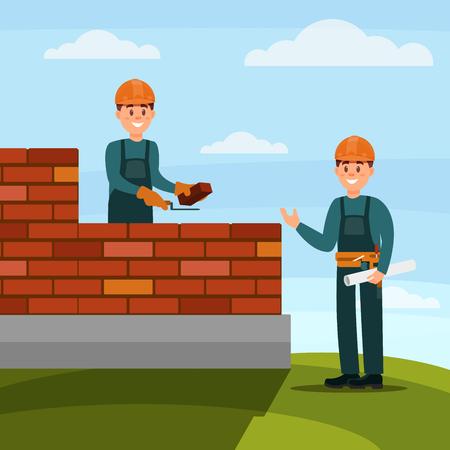 Albañil trabajador de la construcción haciendo un ladrillo con llana y mortero de cemento, capataz supervisando su trabajo en la ilustración de vector plano de fondo de naturaleza, diseño web