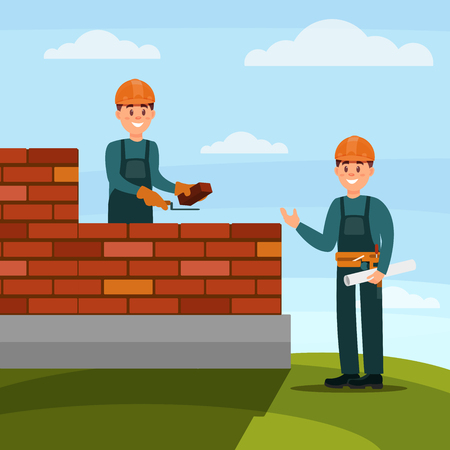 Construction worker bricklayer making a brickwork with trowel and cement mortar, foreman supervising his work on nature background flat vector illustration, web design