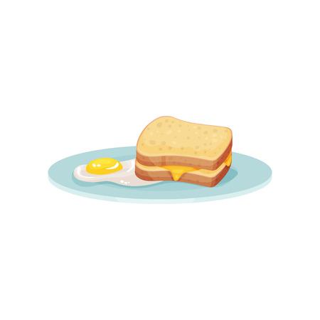 Panino con formaggio e uovo fritto su un piatto, cibo per illustrazione vettoriale colazione isolato su uno sfondo bianco. Vettoriali