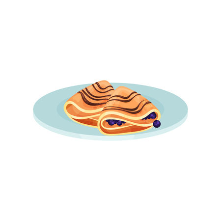 Wrapped pancakes with blueberry, food for breakfast vector Illustration isolated on a white background.