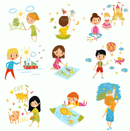 Cute little boys and girls drawing with color paints and pencils set illustrations on white background
