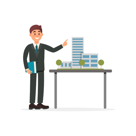 Architect presenting a model of new building vector Illustration on a white background