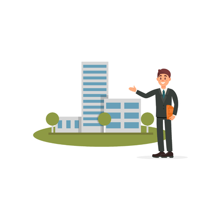 Architect or sales manager presenting new building project illustration on a white background