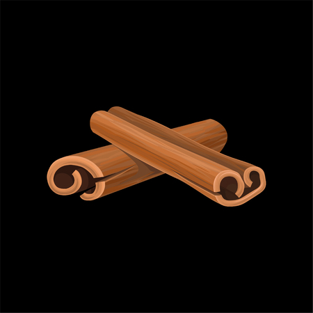 Cinnamon sticks, fragrant spice vector illustration on a black background. Illustration