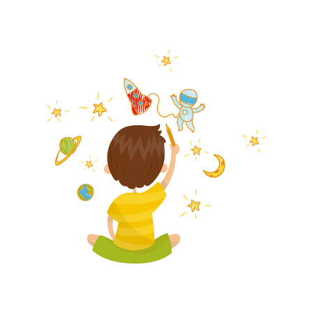 Cute little boy sitting on the floor and drawing with color pencils on the wall, back view, young artist, kids activity routine vector illustration.