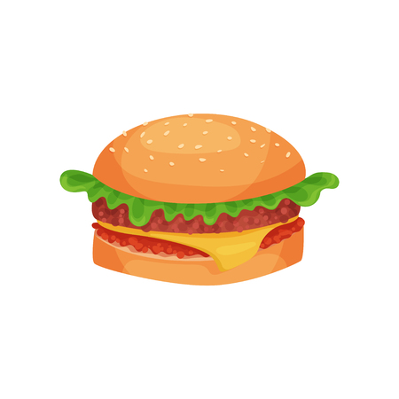 Hamburger with cheese, lettuce, meat patty and bun with sesame seeds vector Illustration on a white background