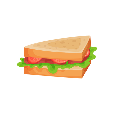 Sandwich with tomato, ham slices and lettuce vector illustration on a white background.