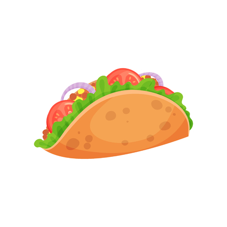 Mexican taco with meat and fresh vegetables, crispy corn tortilla filled with meat, tomato, pepper and lettuce vector Illustration on a white background