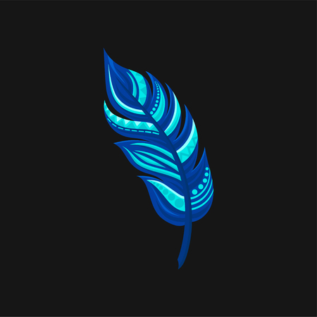 Beautiful bright abstract blue feather vector illustration on a black background.