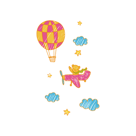 Childish drawing of airplane and air balloon in the sky vector Illustration Vettoriali
