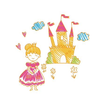 Colorful childish drawing of castle and princess vector illustration can be used for poster, greeting card, banner, label, book illustration.