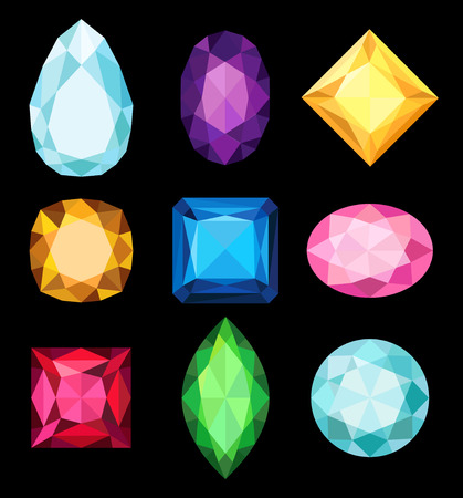 Precious stones, gems of various shapes and colors collection vector Illustrations on a black background