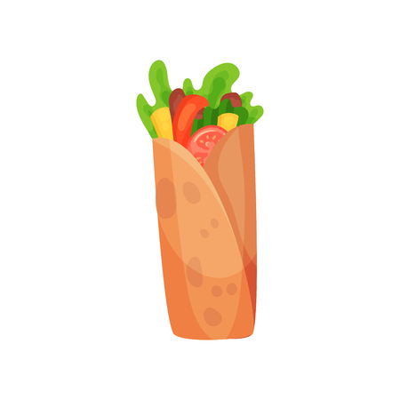 Shawarma with meat and fresh vegetables vector illustration on a white background.