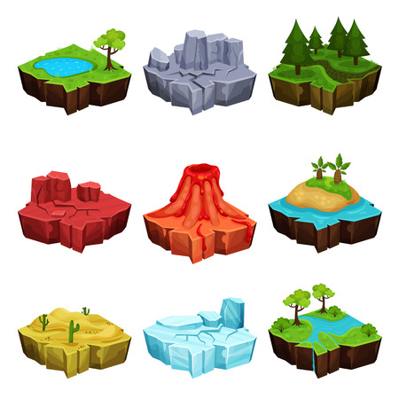 Fantastic islands for game design set, desert, volcano, forest, ice, canyon locations vector Illustrations on a white background