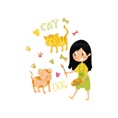 Lovely little girl painting animals with color paints and brush on the wall, young artist, kids activity routine vector Illustration