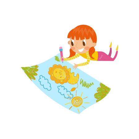 Cute little girl lying on her stomach and drawing with color pencils on the large sheet of paper, young artist, kids activity routine vector illustration.