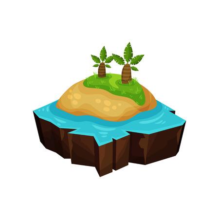 Tropical island for game user interface, element for video games, computer or web design vector Illustration Illustration