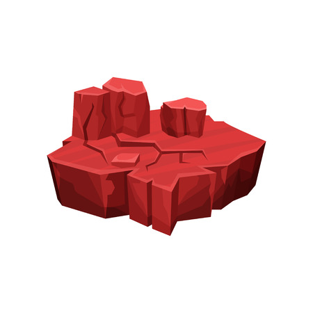 Red canyon fantastic island for game user interface, element for video games, computer or web design vector Illustration