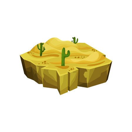 Desert natural landscape, fantastic island for game user interface, element for video games, computer or web design vector illustration.