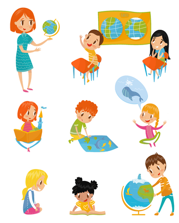 Kids at geography lesson set, preschool activities and early childhood education concept vector Illustrations on a white background