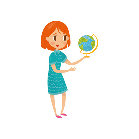 Cute school girl with globe, preschool activities and early childhood education concept vector Illustration.