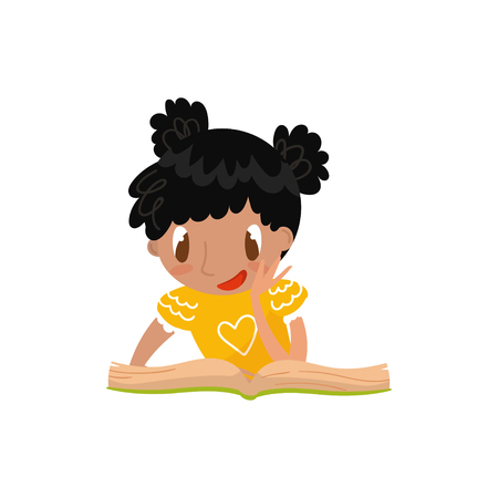 Cute little girl sitting on the floor and reading a book, preschool activities and early childhood education concept vector Illustration