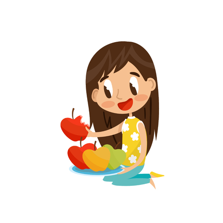 Cute brunette girl sitting on the floor and eating red apple vector Illustration on a white background