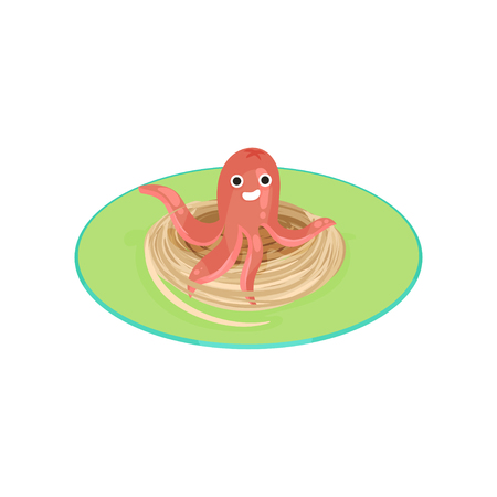 Creative spaghetti garnished with sausage in the shape of mollusk vector illustration on a white background.