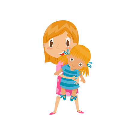 Redhead little girl playing with her doll, cute cartoon character vector Illustration on a white background
