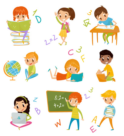 Kids at school set, cute boys and girls at lesson of geography, literature. Illustration