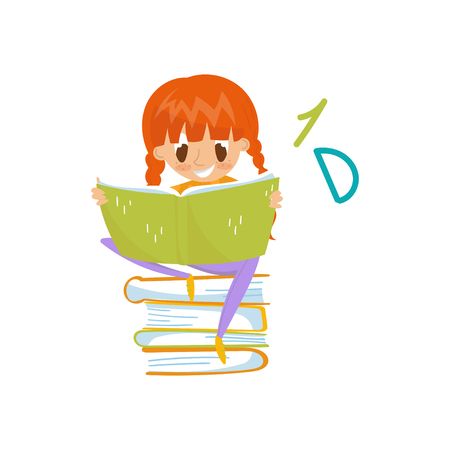 Redhead little girl sitting on a pile of books and reading, education and knowledge concept