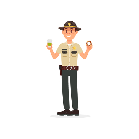 Cheerful town male sheriff police officer character in official uniform holding cup of coffee and donut vector Illustration on a white background