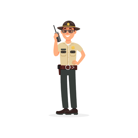 Town male sheriff police officer character in official uniform talking on a radio vector Illustration on a white background